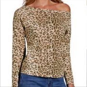Boston Proper one shoulder leopard top nwt